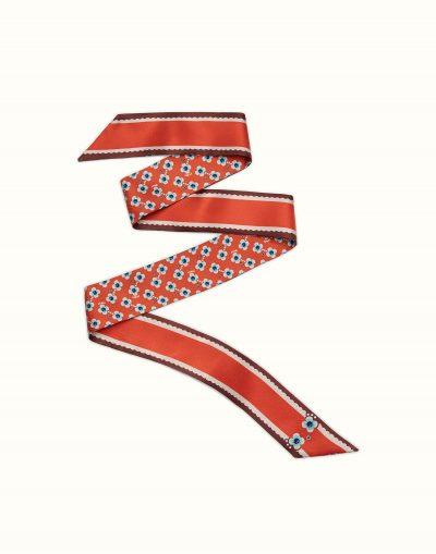FENDI FLOWERS Bandeau in red silk
