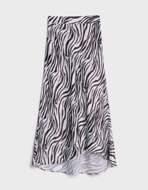 Spódnica midi z nadrukiem w paski zebry