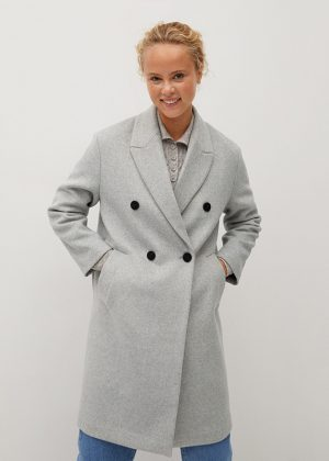 Wełniany płaszcz na guziki